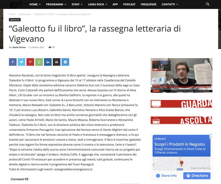 https://www.radiolombardia.it/2021/10/12/galeotto-fu-il-libro-la-rassegna-letteraria-di-vigevano/?fbclid=IwAR3AS8F6V2BXFXZ2qgRSwpdkWIQbtK9Pa5eiZ1NGTHq9c84LxkK8Es2Sb4k